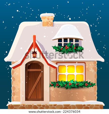 Old cottage covered in snow.Eps 10. - stock vector