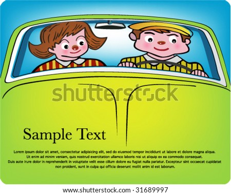 Old couple in a retro car , on the road again . - stock vector