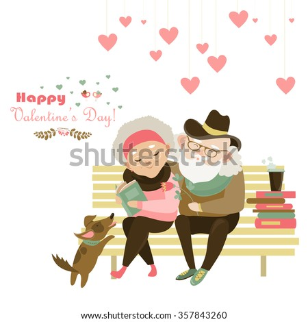 Old couple in love sitting on bench - stock vector