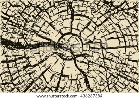Old cracked wooden stump texture, hand drawn vector illustration - stock vector