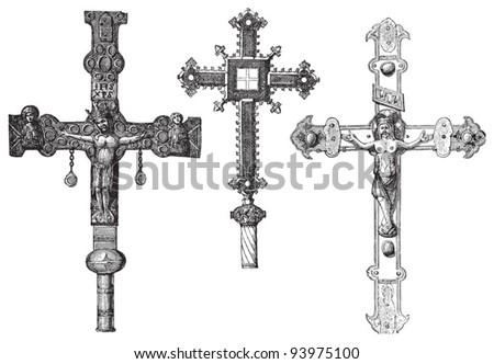 Old crosses / vintage illustration from Meyers Konversations-Lexikon 1897 - stock vector