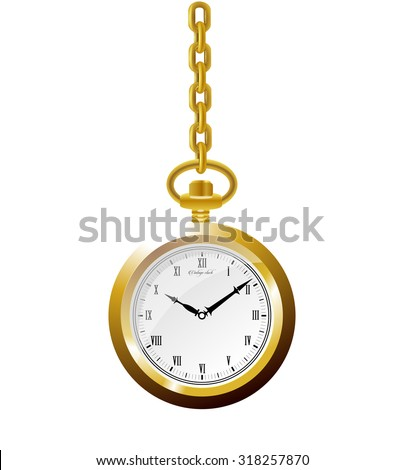 Old 3d luxury vintage mechanical golden round pocket watch with roman numeral and gold chain. time on clock is ten hour and ten minute, vector art image illustration, isolated on white background - stock vector