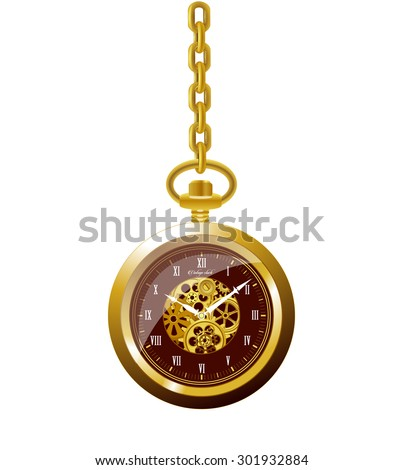 Old 3d vintage mechanical golden round pocket watch with roman numeral, mechanism and gold chain. time on clock is ten hour and ten minute, vector art image illustration, isolated on white background - stock vector