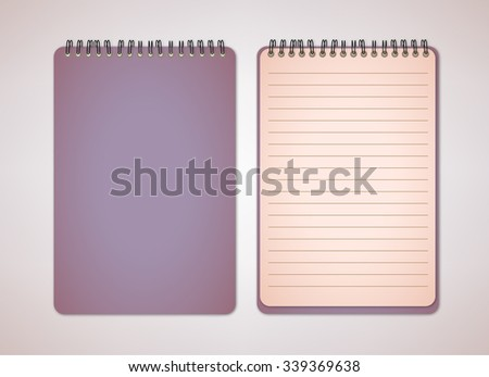 Old Dark Purple Notebook Vector - stock vector