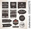 Old dark retro vintage grunge labels set, dirty texture - stock vector