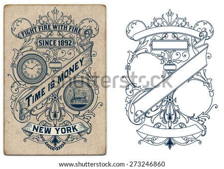Old design with floral details. Elements organized by layers. - stock vector