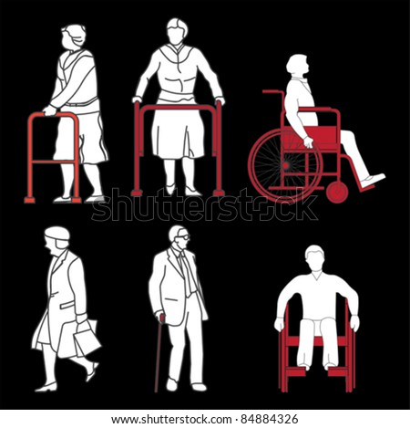 Old disabled people wheelchair flat icon. Medical sign, vector