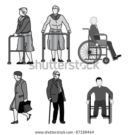 Old disabled people wheelchair flat icon. Medical sign, vector Isolated on white