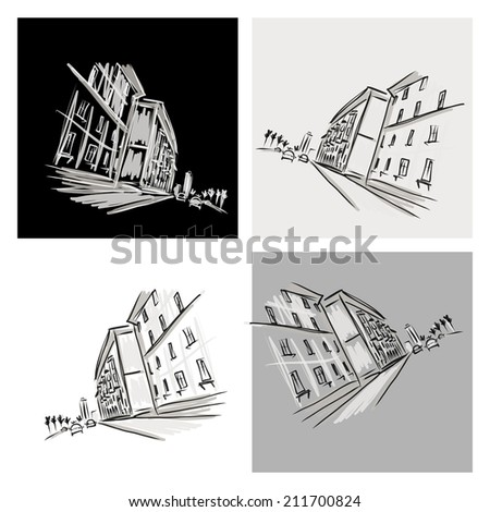 Old district sketch with city road for your design - stock vector