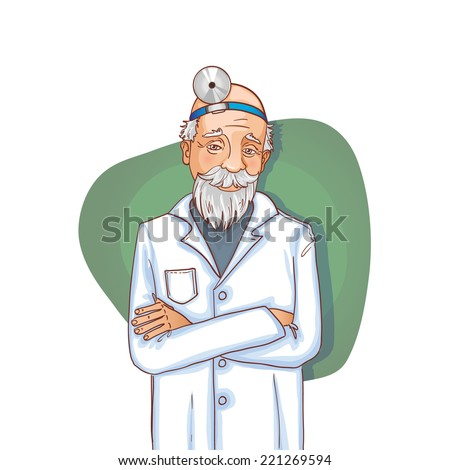 Old doctor with stethoscope, eps10 - stock vector