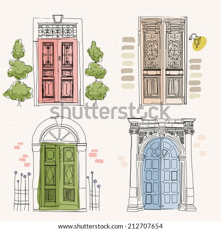 Old doors in vintage style on watercolor background. Hand drawing. Doodle design. Vector illustration. - stock vector