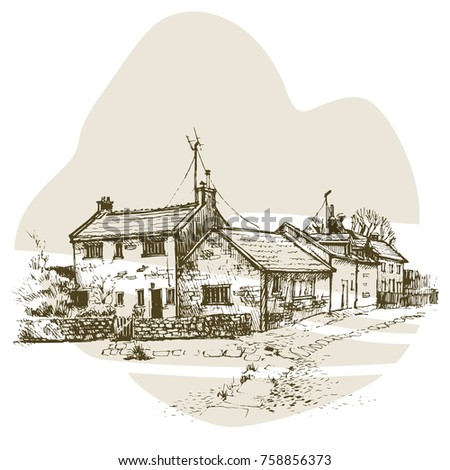 Old English Cottage In A Village With Stone Path Vector Illustration