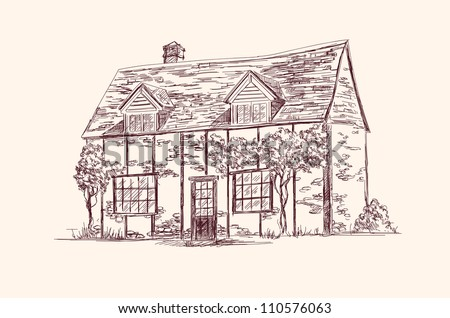 old English house hand drawn vector llustration