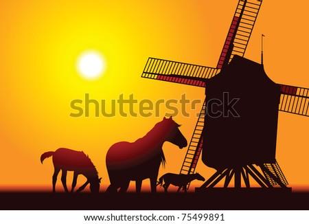 Old Farm Windmill - stock vector
