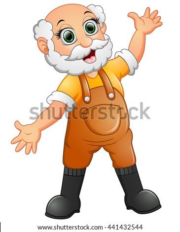 Old farmer waving hand - stock vector