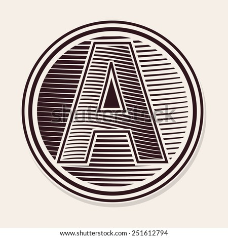 Old fashion engraved letter capital A - stock vector