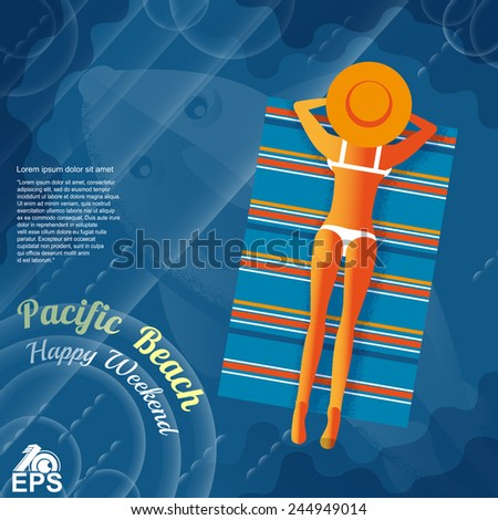 old fashion pop style print background with lady with air mattress on sea - stock vector