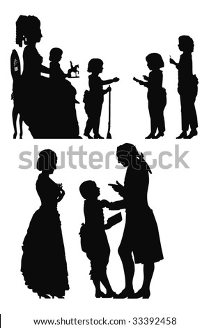 old fashion silhouettes - stock vector