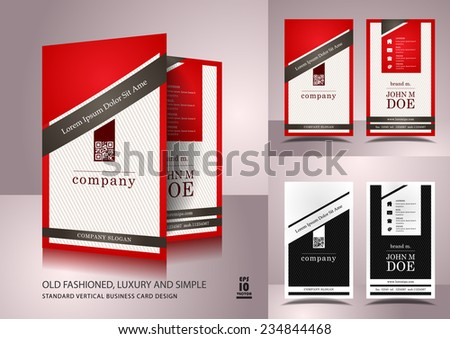 Old fashioned business card design in red and white color - stock vector