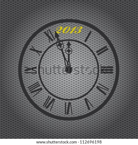 Old-fashioned clock with 2013 mark on metal sheet background - stock vector