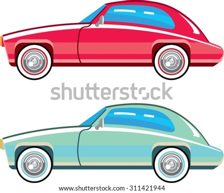Old Fashioned Coupe Car  - stock vector