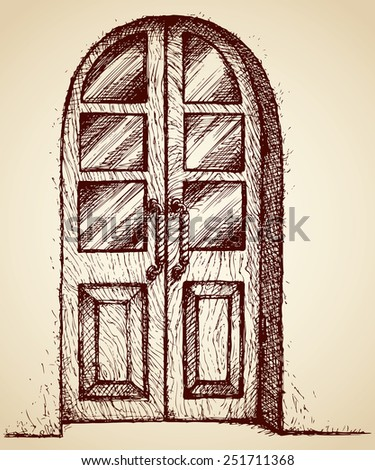 Old-fashioned curved plank oak carved door with glass window and figured knob in white wall. Vector monochrome freehand sketchy ink drawn background in antiquity style pen on paper with space for text - stock vector