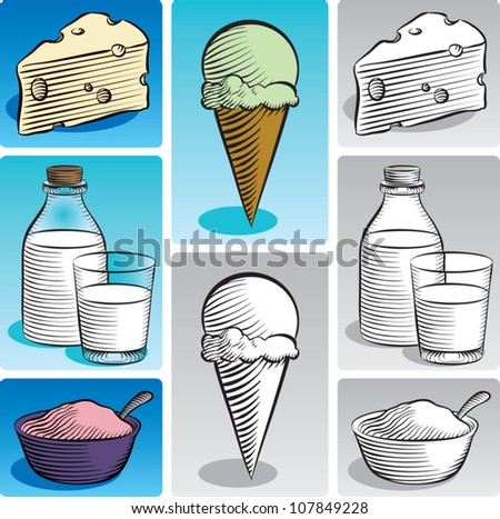 Old fashioned etched style illustration of various dairy products. Includes swiss cheese, milk, yogurt, and ice cream. In color and black and white. - stock vector