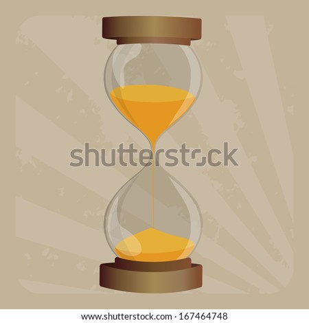 Old-fashioned hourglass in retro  frame  - stock vector