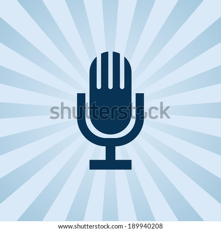 Old fashioned microphone on background beams. Poster can be used as wallpaper or for printing on paper or cloth. - stock vector