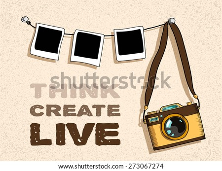 old- fashioned photo camera and three photo handing on strip, retro textured beige background, space for your text,  sketch vector illustration - stock vector
