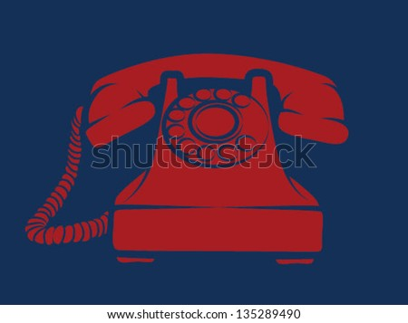 Old fashioned red phone on navy background - stock vector