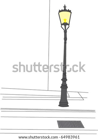 Old fashioned Street lamp - stock vector