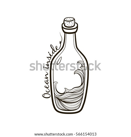 Old Fashioned Vintage Bottle With Ocean Inside On White Background