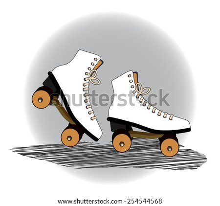 old fashioned  vintage roller blades  - stock vector