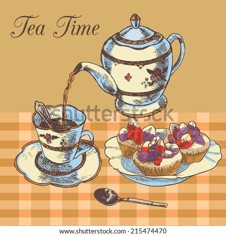 Old-fasioned english tea time restaurant country style poster with traditional teapot and cupcakes dessert vector illustration - stock vector