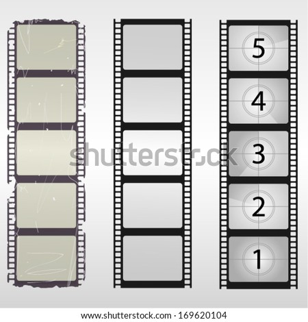 Old film. Blank film. Film countdown numbers. Vector illustration. - stock vector