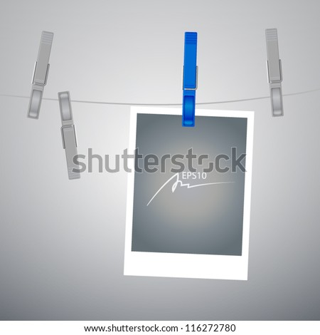Old Film Blank Hanging on a Rope with clothespin - design element - stock vector