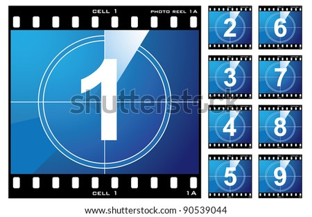 Old film cell elements count down numbers - stock vector