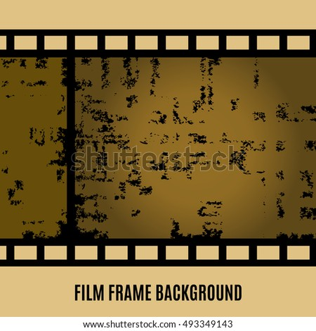 Old film, movie, filmstrip banner for your design. Editable grunge film frame background with space for your text or image. Vector illustration