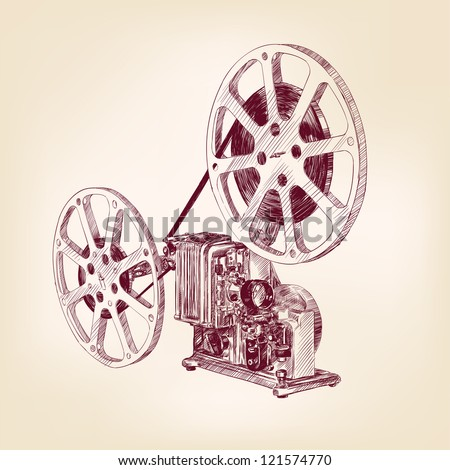old film projector hand drawn vector llustration - stock vector