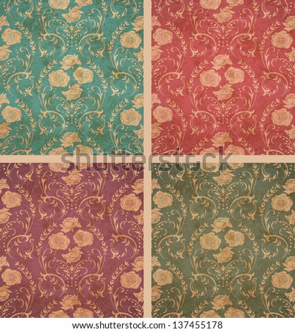Old floral backgrounds in ancient style. Old paper texture.  EPS10 blend mode used - stock vector
