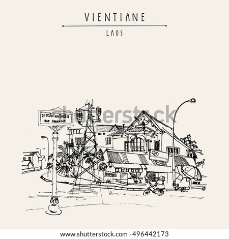 Old French Colonial House In Vientiane Capital Of Laos Southeast Asia Vintage Hand