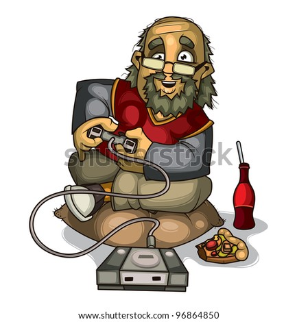 Old gamer - stock vector