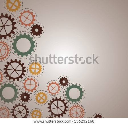 old gear over vintage background vector illustration - stock vector
