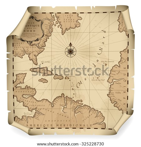 Old geographic map of Atlantic ocean region lands in a free interpretation with text. Vintage chart background. Vector Illustration - stock vector