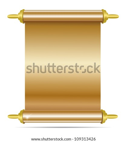 Old gold manuscript isolated on white. Vector
