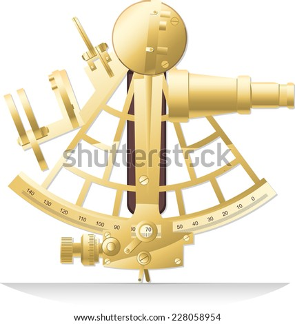 Old golden brass sextant old fashion Sailing Instrument vector illustration. - stock vector