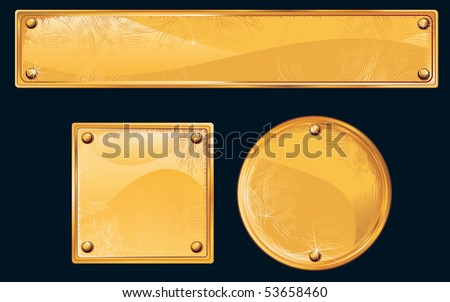 Old golden plates and signboards - stock vector