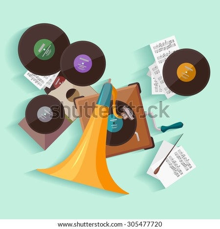 Old gramophone. Flat design. - stock vector