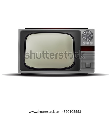 Old gray TV with green screen. Vector image